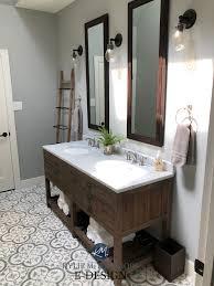Bathroom Remodel. Kylie M Interiors Edesign, Paint Color Consultant. Sherwin  Williams Argos, Restoration Hardware Vanity, Cement Patterned Floor Tile (6)