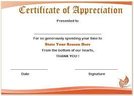 Certificate Of Appreciation Volunteer Work 13 Volunteer Appreciation Certificates Free Printable Word
