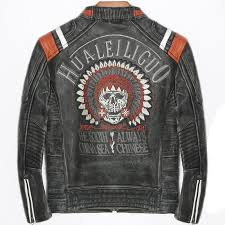 2019 genuine skull indian leather jacket men motorcycle punk casual male biker real cow leather coats streetwear blouson cuir homme from duixinju
