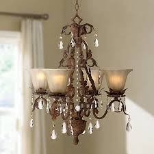 bronze and crystal chandelier. Iron Leaf 4-Light Roman Bronze And Crystal Chandelier A