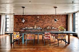 eclectic lighting. Eclectic Dining Room With Upholstered Chair, Painted Wood Ceiling, Side Table, Madame Lighting