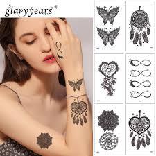 Glaryyears 1 List Dočasné Tetování Nálepka černé Falešné Tetování
