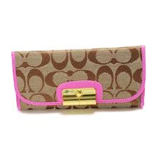 Coach Kristin In Signature Large Pink Wallets DVP