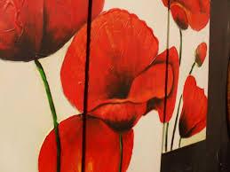 red poppy set of 3 handpainted canvas wall art redpoppy3