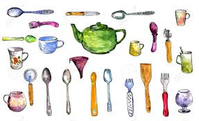 Set Of Kitchen Utensils Drawing By Watercolor And Ink Serving