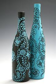 Set of 2 Hand Painted Wine bottle Vases, Turquoise and Black, Floral and  Paisley Design. Wine bottle painting party, anyone?