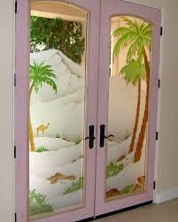 glass door frosted painted pam tree camel mountain