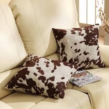 Cow Hide Pillows Set 2 Throw Cushion Western Brown White Faux Print Cover  18 X18 | eBay