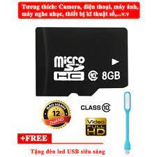 Nơi bán Thẻ nhớ Micro SDHC 8GB class 10 + Tặng đèn LED USB giá rẻ 50.000₫