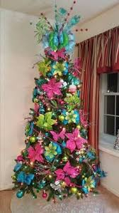 Blue, pink and green christmas tree