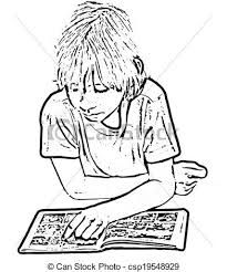 drawing of a child reading a ic book