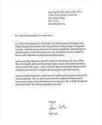 Hospital Nursing Recommendation Letter Sample Of