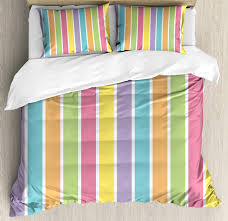 colorful king size duvet cover set pastel colored striped summer pattern funky cheerful rainbow inspired traditional decorative 3 piece bedding set with 2