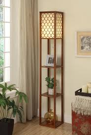 Diy Wood Floor Lamp Wooden Floor Lamp With Square Shelves And Quatrefoil Shade