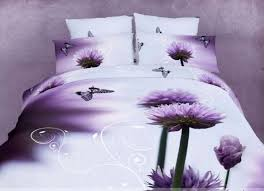 purple aster flowers and delicate erflies cute full queen duvet set for girls and teens paradiso by dolce mela bedding