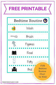 Free Printable Bedtime Routine Chart For Little Kids And
