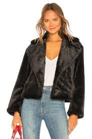 vince plush faux fur coat in black
