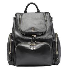 Black Designer Backpack Amber Black Leather Backpack