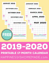 2020 monthly planner template 2019 2020 free printable monthly calendar happiness is