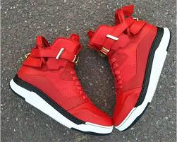 buscemi high top red sneakers leather shoes with lock strap