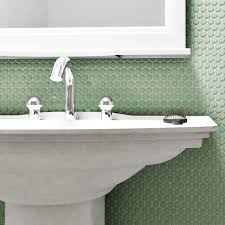 SomerTile 9.75x11.5-inch Victorian Penny Matte Light Green Porcelain Mosaic  Floor and Wall Tile (Pac - Free Shipping Today - Overstock.com - 15437271