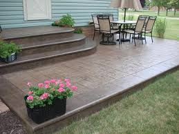 Backyard Concrete Designs Cool Stamped Concrete Steps Intermediate Step With California Weave