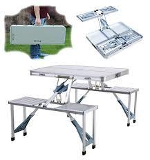 k udos enterrpise new heavy duty aluminium portable folding picnic table u0026 chairs set with umbrella portable folding picnic table a47