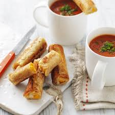 Creamy Tomato Soup With Grilled Cheese Roll Ups Recipe Myfoodbook