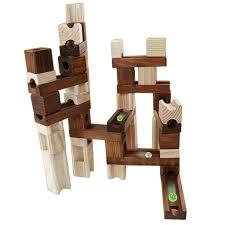 magideal onshine 45pcs wooden marble run children building construction blocks creative toy kids birthday