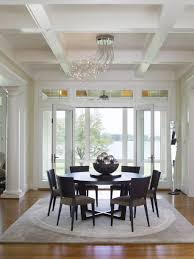 ... Marvelous Home Interior With Modern Coffered Ceiling : Fabulous  Decorating Ideas Using Black Wooden Stacking Chairs ...