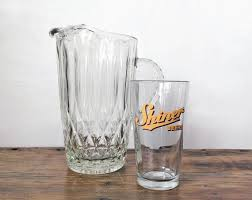vintage glass beer pitcher heavy and solid jpg 570x452 vintage glass beer pitchers