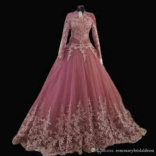 discount dusty rose a line long sleeve wedding dresses dazzling