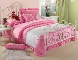 polka dot queen comforter sets white and pink girls princess lace ruffled embroidered 16