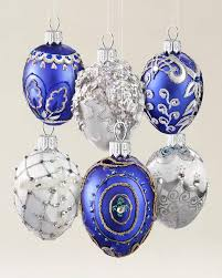 Silver & Blue Egg Blown Glass Ornaments (6 Pcs) Main