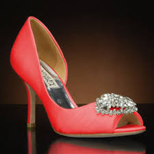 coral wedding shoes. Pearson by Badgley Mischka Wedding Shoes at My Glass Slipper