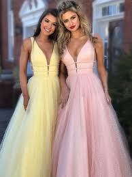 Light Pink And Light Blue Prom Dresses V Neck Yellow Pink Light Blue Long Prom Dresses Yellow Pink Light Blue Formal Evening Dresses
