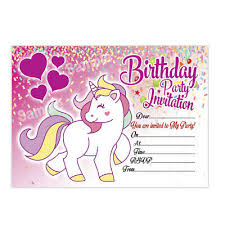B Day Invitation Cards 20 X Unicorn Girl Birthday Invitation Kids Girls Childrens Party Invites Ebay
