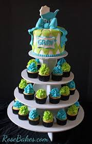 Turquoise Lime Green Baby Shower Cake And Cupcake Tower