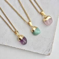 mini tumbled crystal pendant necklace