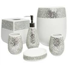 bathroom accessories sets silver. This Ornate Hand Crafted Bathroom Accessory Set Is Available As A Or In Individual Pieces. Beautiful Silver Cracked Glass Detail For Truly Dazzling Accessories Sets