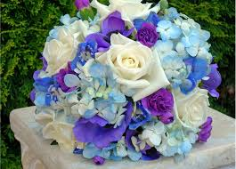 Blue Purple And White Wedding Flowers Blue And White Wedding