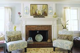 pastel room decor traditional brick fireplace