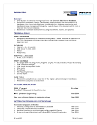 Database Administration Sample Resume 22 Sql Developer Summary