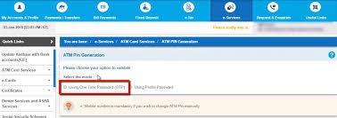 generate pin for new sbi debit card