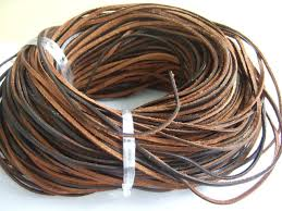 10 meters high quality brown flat leather cord 3mm x 2mm thick string for diy