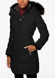 calvin klein faux fur trim quilted puffer coat