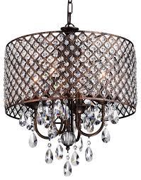 unique drum chandelier with crystals houzz edvivi llc 4 light crystal chandelier with drum shade