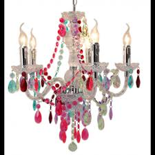 reduced multi coloured jewel 5 light chandelier ceiling light