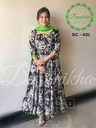 Kalamkari Churidar Neck Designs For Stitching Dc 431 Beautiful Floor Length Anarkali Dress With Pom Pom