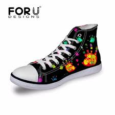 Forudesigns Black Classic Women Canvas Shoes Fashion Print Female